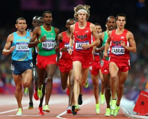 America's best Steeplechaser Evan Jager runs times in the low 8:00 range.