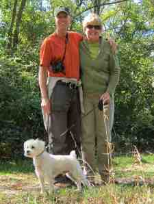 Chris, Linda and our dog Chuck on a healthy hike in a forest preserve. Looks like he wants to run!