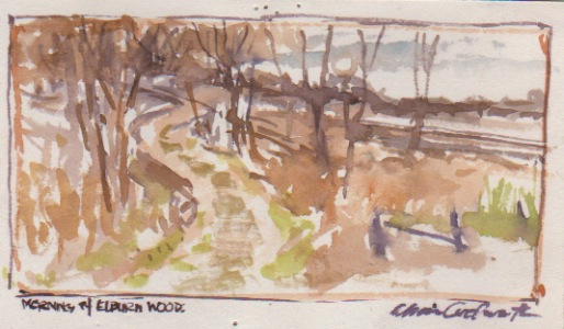 This watercolor sketch was produced as a study for a commissioned painting, but it happens to capture the forest preserve hill that still serves as the start of a cross country course where my running career began, and where thousands of HS cross country runners have run since.