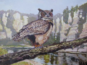Great horned owl. Acrylic painting by Christopher Cudworth.