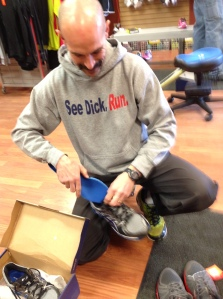 Dick Pond employee and top competitor Steven Nusser prepares a set of shoes for testing.