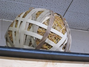 Emblematic of the many bikes assembled and sold,  the store's rubber band ball was years in the making. Fun!