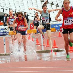 The water barrier tests both the analytical and physical skills of every athlete in the steeplechase.