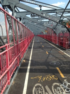 Running and riding over the Williamsburg bridge.