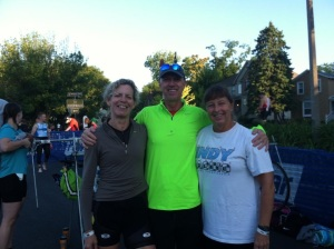 Sue Astra (left) Nowhere Man Chris (center) and Lida Kuehn (right) winners of the team Sprint Tri in Naperville.
