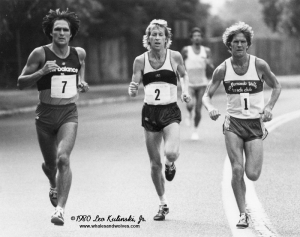 An elite athlete like Bill Rodgers (center) may be hard pressed to understand the lesser efforts of others.