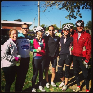 A merry band of pirate (not bandit) cyclists gather at a rest stop port on the Pumpkin Pie Ride in Ottawa, Illinois.
