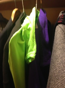 The purple LL Bean sweatshirt meets its possible green successor in my closet.