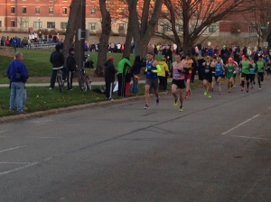 A North Central Track Club member leads out the 2013 Naperville Half Marathon