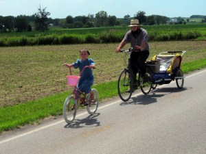 amish riding bicycle