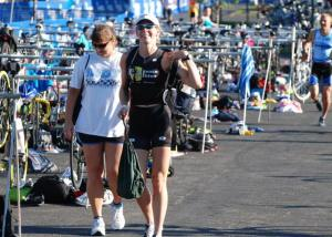 Training partner Sue (right) always seems to have her gear organized. I'm working on it.