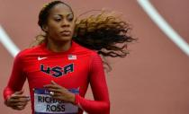 The long locks of Sanya Richards-Ross trail behind her in the sprints.
