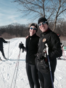 Sue and Chris Skiing
