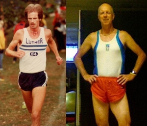 At left, competing in the St. Olaf Invitational in 1978. At right still running at age 56.
