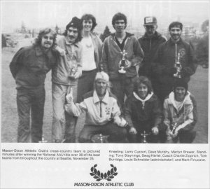 A clipping from winning the team National Cross Country Championship with Mason-Dixon/Victory Athletic Club.