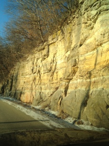This outcrop of sandstone along the Mississippi is near MacGregor, Iowa. I've driven this road perhaps 200 times.