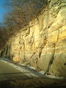 This outcrop of sandstone along the Mississippi is near MacGregor, Iowa.
