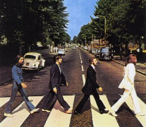 The Beatles on Abbey Road. Notice one of them is sporting minimalist footwear.
