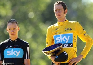 Froome (left) and Wiggins not looking too happy to be together.