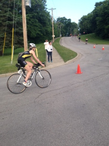 Someone to root for. Mu companion Suzanne Astra climbs the first hill in the Batavia Triathlon. She finished fifth overall in her age group.