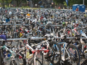 Thousands of bikes await competitors in the transition area.