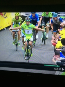 Peter Sagan defying the seriousness of the Tour de France.