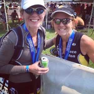 Sisters Sue Astra and Julie Dunn enjoy a post-race smile.