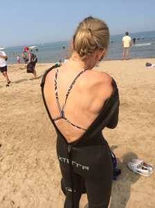 The swim training is evident in Sue's back and shoulders.