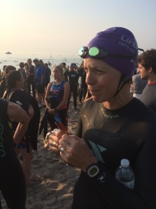 Sue downing a shot block before the swim.