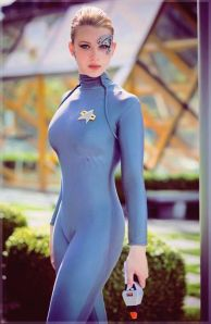 A Star Trek actress sports her triathlon wetsuit with bling already attached.