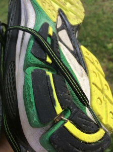 The classic heel wear pattern on many running shoes belies the effects of slower mileage