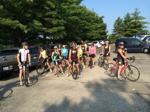A group of triathletes prepares for a brisk 35-mile ride on a Sunday morning. Most rode aero or tri-frames.
