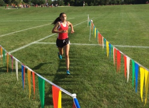Megan Ronzone finishes her race at a strong pace.
