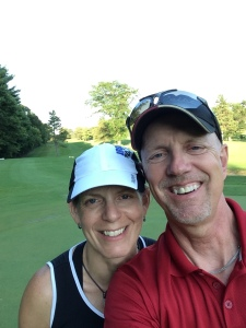 Sue and Chris on golf course