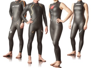 Triathletes sporting protection against Ebola virus.