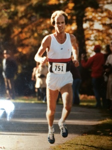 In peak racing fitness circa 1983 at the Sycamore Pumpkinfest 10K. Floating along.