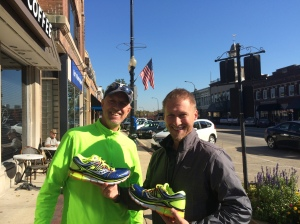 My newfound friend, the Saucony rep named Jeremy who bequeathed a pair of Saucony Triumph test shoes to We Run and Ride. Thanks, dude! My daughter says he gave them to me because they matched my top.
