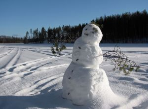 This snowperson built in a remote location does stand the chance of being neglected.