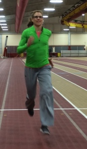Personal trainer and running form coach Kelly Krause practicing what she preaches.