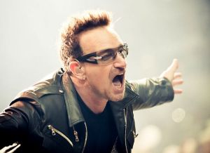 Bono exhibits all the enthusiasm of a Disney character. We wish him a full recovery from injuries suffered in a biking accident.
