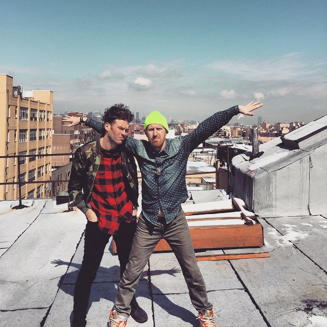 Evan Paul Cudworth (in green hat) on one of his rooftop adventures in New York.