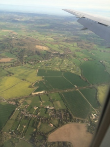 The view of the English countryside from the airplane window.