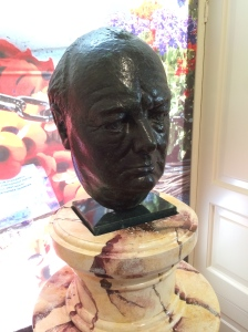 A bust of Winston Churchill.