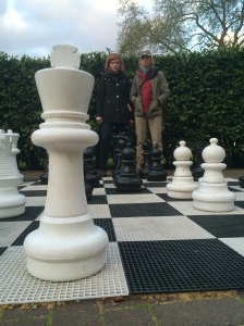 We played a game of chess in the park.