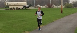 The race leader at the eight mile point. He ran 1:17.