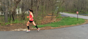 The women's race leader at four miles. She went on to run 1:27.