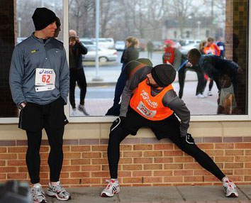 "Runner asks, ""Do I look stupid wearing shorts over these tights?"" HIs friend replies, ""Yes but I just realized I'm doing it too."""