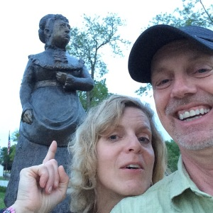 That's Sue telling me not to turn into a statue on the brick.