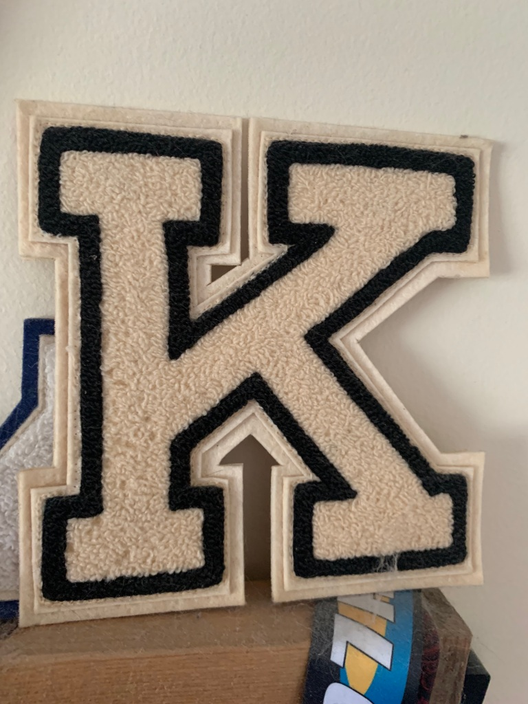 The prized varsity letter that adorned my letter jacket until it got worn out.